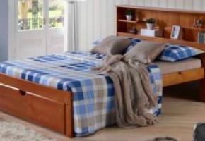 Del Rey Pecan Bookcase Platform Bed